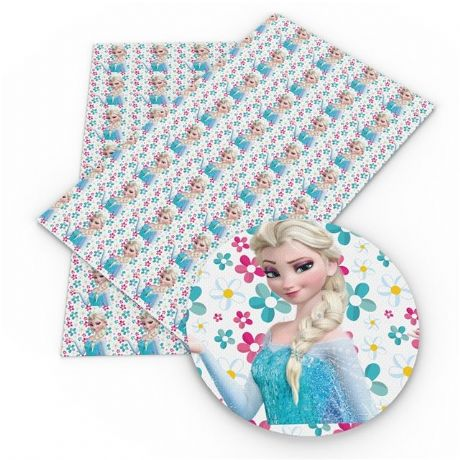 20CM X 34CM ELSA FROZEN PRINTED SYNTHETIC LEATHER SHEET PERFECT FOR HAIR BOWS